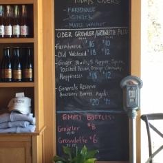 Cider menu