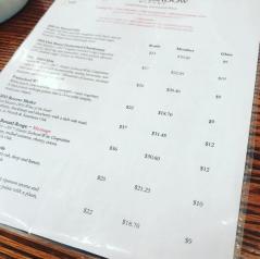 The wine menu